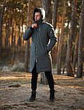 Мужская зимняя длинная парка Asos (Gray), серая длинная зимняя парка, фото 2
