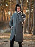 Мужская зимняя длинная парка Asos (Gray), серая длинная зимняя парка, фото 4