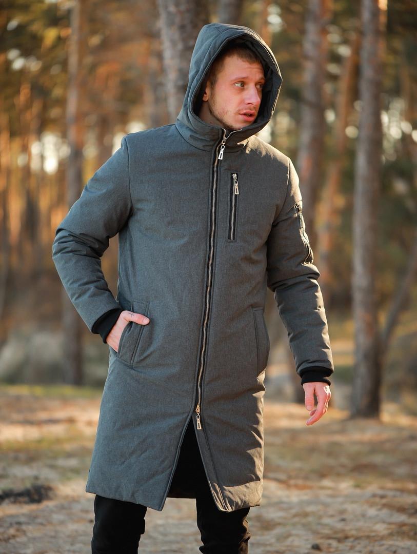 Мужская зимняя длинная парка Asos (Gray), серая длинная зимняя парка
