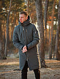 Мужская зимняя длинная парка Asos (Gray), серая длинная зимняя парка, фото 5