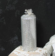 Свеча столб 11*5см серебристая с блестками, фото 1