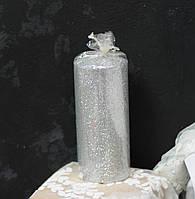 Свічка стовп 11*5см срібляста з блискітками, фото 1