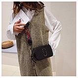 Сумка женская под крокодила Camera Bag  в стиле Marc Jacobs с ацтекским ремнем (черная), фото 5