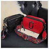 Сумка женская под крокодила Camera Bag  в стиле Marc Jacobs с ацтекским ремнем (черная), фото 6