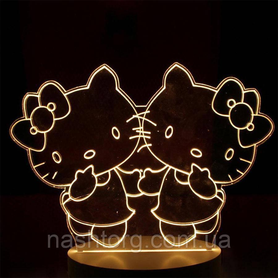 🔝 3D светильник, ночник для детей, Hello Kitty, (доставка по Украине)   🎁%🚚
