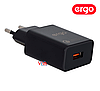 Сетевая зарядка ERGO EWC-130QC 1xUSB Wall Charger QC3.0 18W Black