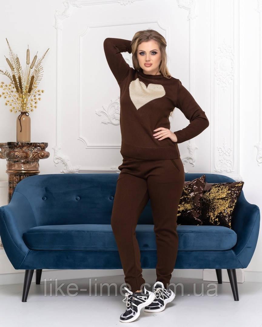 Женский стильный вязаный костюм