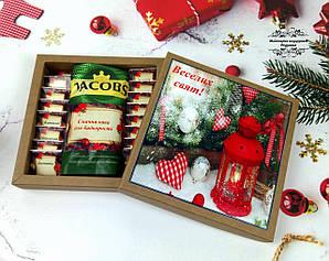 """Шоколаднй набір з кавою """"Веселих свят"""". Корпоративні подарунки на Миколая, Новий рік, Різдво."""