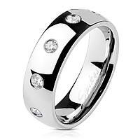 Женское кольцо из стали с фианитами от Spikes, р. 15.7, 17.3, 18, 19