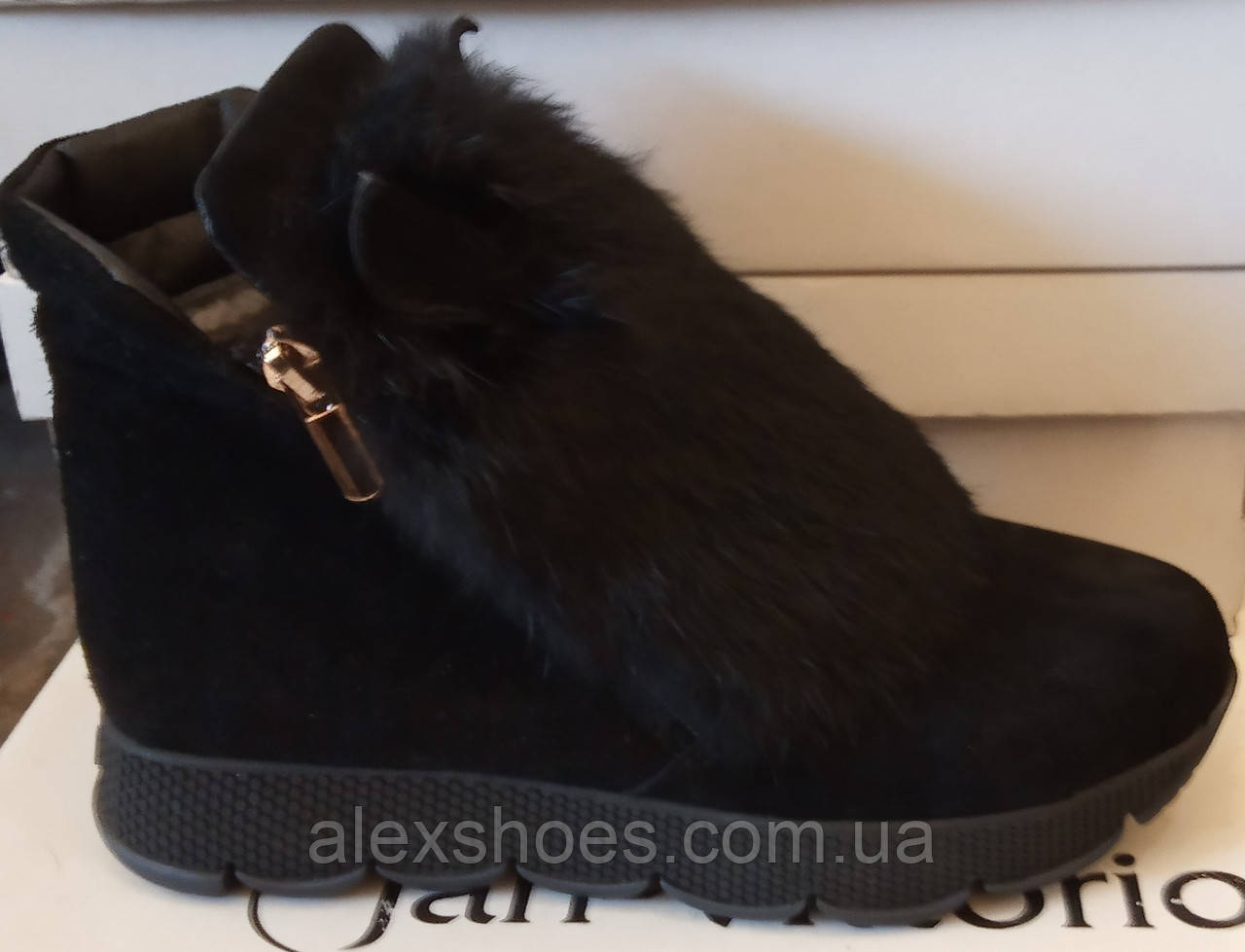 Ботинки молодежные зима из натуральной замши с ушками от производителя ЛУ418-2