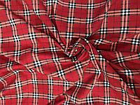 Французский трикотаж Клетка шотландка красная