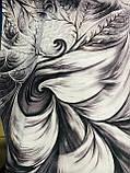 Женский  палантин с бахромой серый с сиреневым и оливковым, фото 7