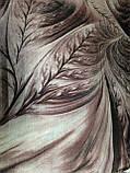Женский  палантин с бахромой серый с сиреневым и оливковым, фото 8