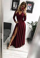 Платье женское Лиана бордовое вечернее длинное в пол  с гипюровым рукавом