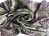 Женский  палантин с бахромой серый с сиреневым и оливковым, фото 6
