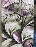 Женский  палантин с бахромой серый с сиреневым и оливковым, фото 4