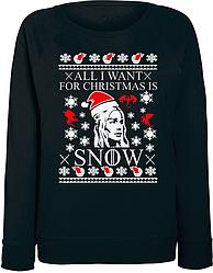 Женский свитшот Game Of Thrones - All I Want For Christmas Is Snow (чёрный)