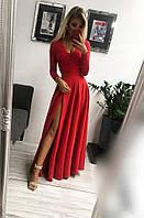 Платье женское Лиана красное вечернее длинное в пол  с гипюровым рукавом, фото 1