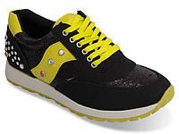Спортивная женская обувь, кроссовки черно-желтого цвета!! размеры 39