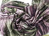 Женский  палантин с бахромой серый с сиреневым и оливковым, фото 5