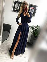 Женское платье Лиана темно-синее  в пол, фото 1