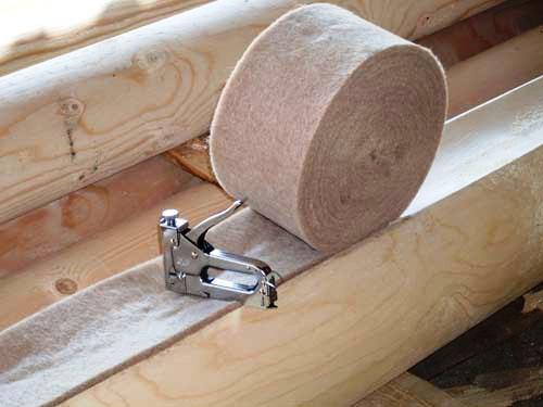 Утеплитель межвенцовый для деревянного дома в ленте джут/лен шир.10 см, фото 1