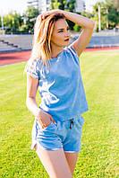 Летний женский спортивный костюм шорты с футболкой голубого цвета из велюра Х/Б