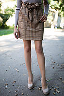 Прямая юбка RHINE в клетку с высокой талией и бантом