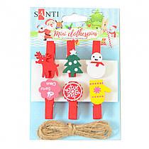 """Набор новогодних деревянных прищепок 6 штук Santi """"Merry Christmas"""",3.5 см 742500"""