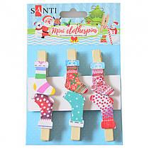 """Набор новогодних деревянных прищепок 6 штук Santi """"Merry Christmas"""",4 см 742501"""
