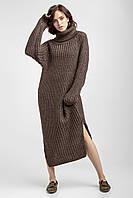 Длинное тёплое платье-свитер хаки из толстой пряжи с хомутом «Bellissima»