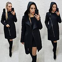 Зимнее пальто арт. 136 с капюшоном черное / цвет чёрный