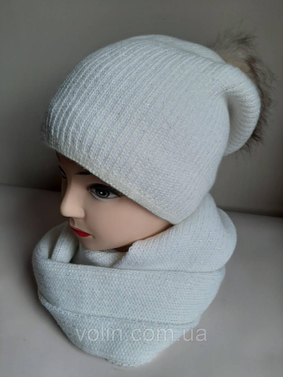 Белый женский комплект шапка и хомут Agbo.