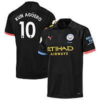 Детская футбольная форма Манчестер Сити KUN AGÜERO 10  сезон 2019-2020 выездная черная, фото 1
