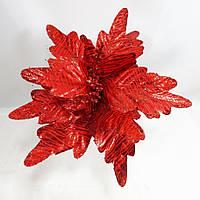 """Новогодние украшения на елку, цветок-пуансеттия""""Блестящая зебра"""" 25см, цвет красный, фото 1"""