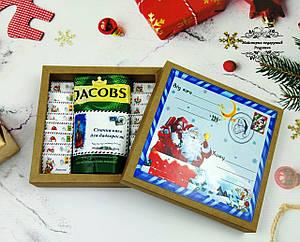 Подарунки на Миколая, Новий рік, Різдво. Шоколаднй подарунковий набір з кавою Новорічний лист.