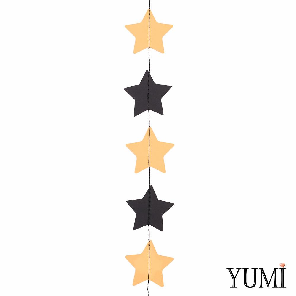 Декор: Гирлянда картон плоская Золотые и черные звезды 1,2 м