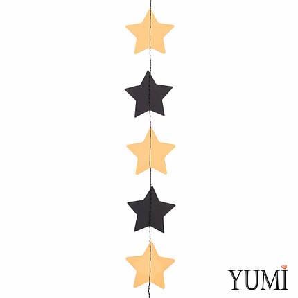 Декор: Гирлянда картон плоская Золотые и черные звезды 1,2 м, фото 2