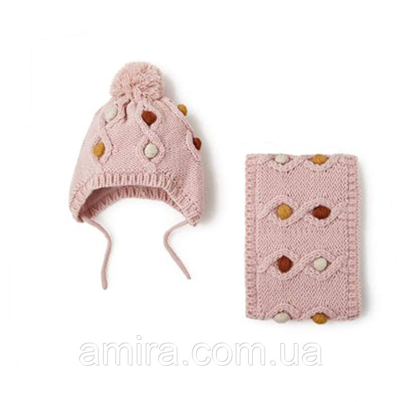Шапка + снуд для девочки зимняя Драгоценности, розовый Berni