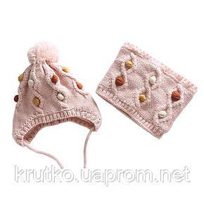 Шапка + снуд для девочки зимняя Драгоценности, розовый Berni, фото 2