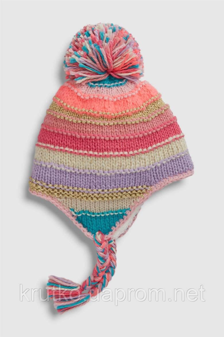 Шапка для девочки зимняя Яркие полосы Berni