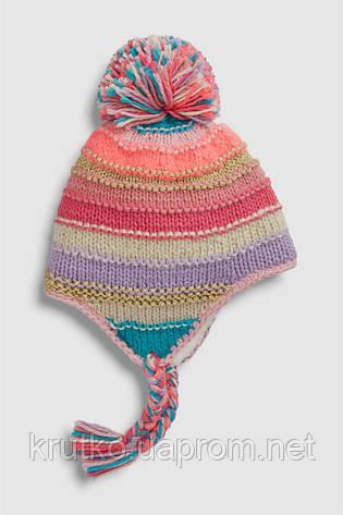 Шапка для девочки зимняя Яркие полосы Berni, фото 2