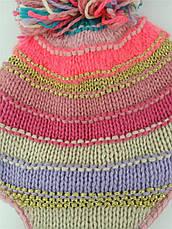 Шапка для девочки зимняя Яркие полосы Berni, фото 3