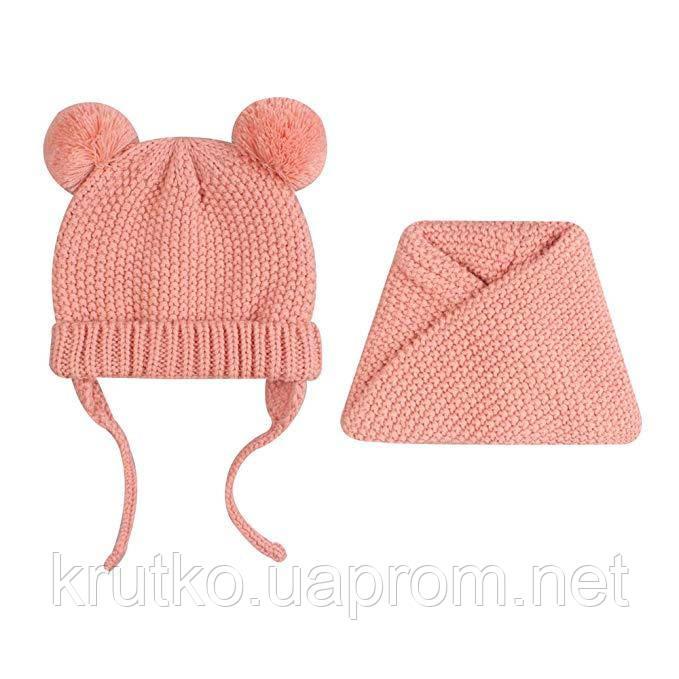Шапка + снуд для девочки зимняя Гармония, розовый Berni