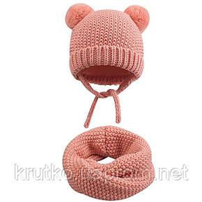 Шапка + снуд для девочки зимняя Гармония, розовый Berni, фото 2