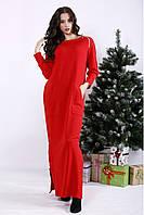 Женское платье макси красное большие размеры: 42-74