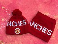Шапка + Баф(горловик)  Манчестер Юнайтед красный, фото 1