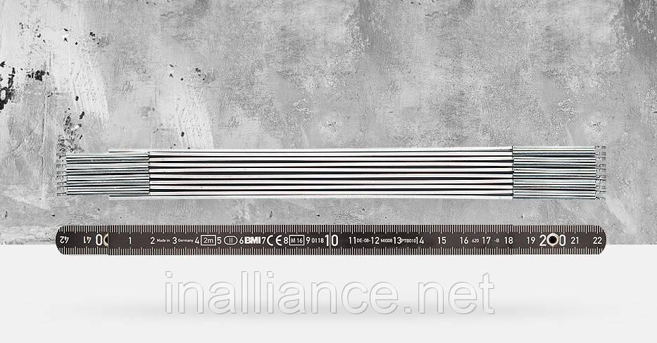 Складной метр алюминиевый 2 метра 10 звеньев BMI 961200044S