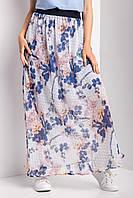 Белая шифоновая юбка DARA в цветочный принт с широким поясом резинкой