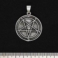 Серебряный кулон Пентаграмма перевернутая (медальон)  (00000002831)
